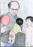 Professor Jim's Japanese boys have angered grandfather! coloured by Red Tail Hawk