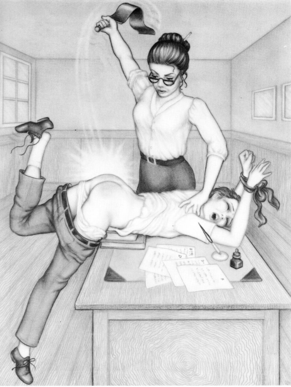 image Teacher spanking drawings male genital gay