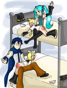 Arkham-Insanity's Volcaloids - Miku spanking Len on the top bunk and Kaito spanking Rin on the bottom